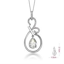 【蝶之泪】 白18k金103分/1.03克拉钻石吊坠