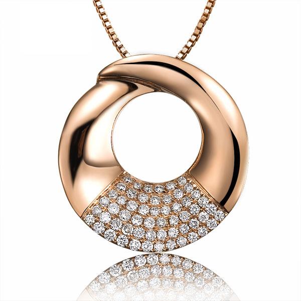 佐卡伊  回眸一笑  玫瑰金钻石吊坠