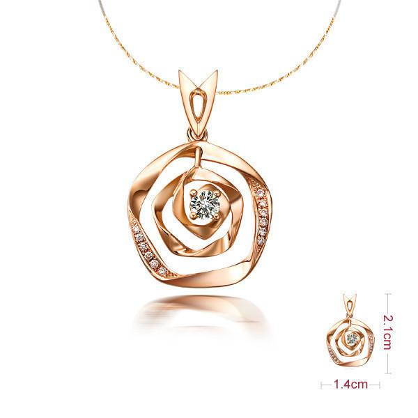 佐卡伊 玫瑰风情-玫瑰金1分/0.008克拉钻石女式吊坠