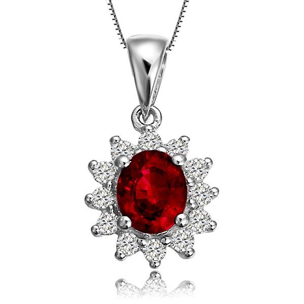 佐卡伊 美到极致 0.77克拉红宝石白18k 金钻石吊坠