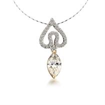【天使之泪】 白18k金钻石吊坠