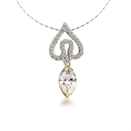 天使之泪-白18K金101分钻石女式吊坠 ,主钻为橄榄形