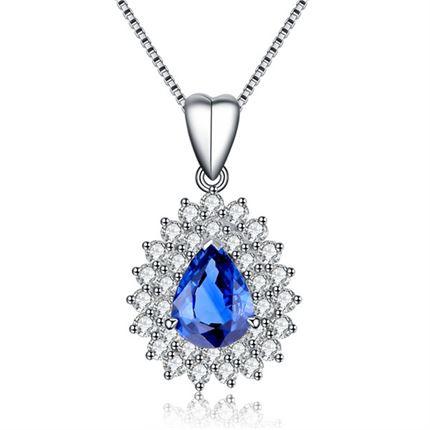 【蓝色魅影】 白18k金天然蓝宝石吊坠