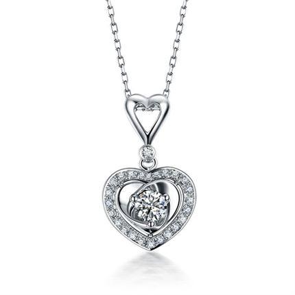 【心愿】 18K白金心形25分钻石吊坠 活动特价