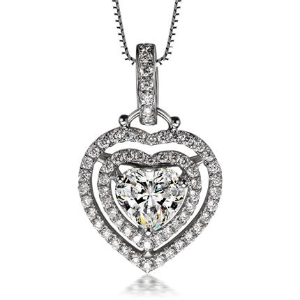 【天使之爱】 白18k金1.66克拉主石F-G色钻石吊坠