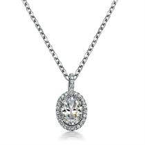 【满满的爱】 白18k金椭圆形钻石吊坠