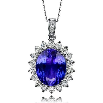 【蓝之魅】 白18k金3克拉镶嵌钻石坦桑石吊坠