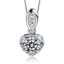 【浪漫的心】系列 白18K金共28分钻石女士吊坠