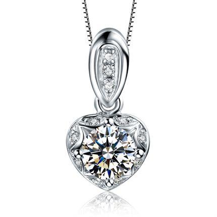 【怦然心动】 白18K金共28分钻石女士吊坠