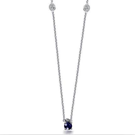 【深邃】 白18k金蓝宝石项链彩色宝石链牌