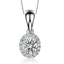 【心中的日月】 白18K金30分/0.3克拉钻石女士吊坠