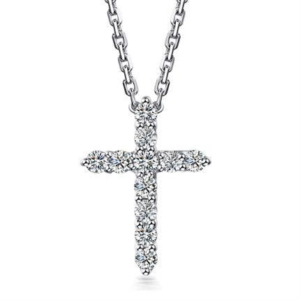 【爱的信仰】 白18k金经典十字架钻石吊坠项链坠