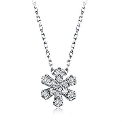 【初雪】系列 18k金群镶钻石吊坠时髦项链