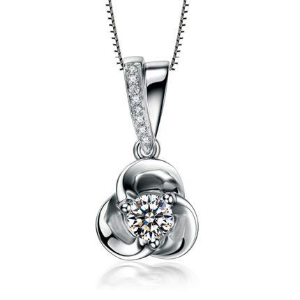 【花语】 白18k金钻石吊坠项坠项链简约时尚吊坠