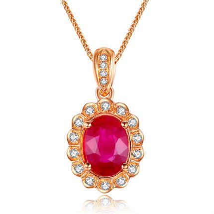 【红颜】系列 18K金玫瑰1克拉红宝石吊坠