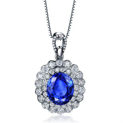 【蓝色海洋系列】 白18K金蓝宝石吊坠