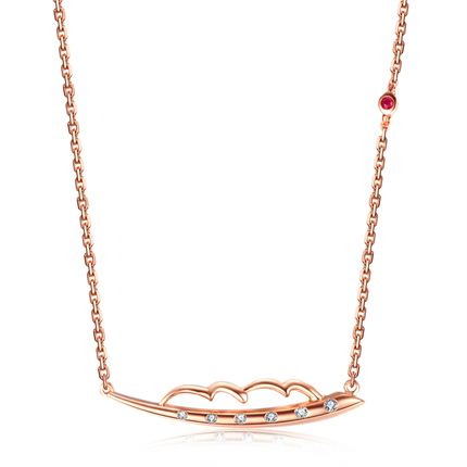 【羽】系列 玫瑰18k金钻石项链镶红宝石吊坠