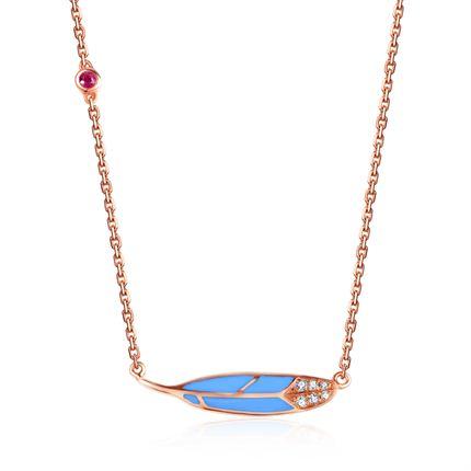 【羽】系列  玫瑰18k金珐琅项链群镶钻石红宝石链牌吊坠