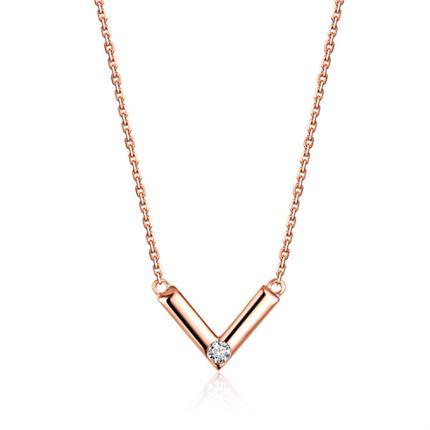 【唯你】 玫瑰18k钻石链牌钻石项链