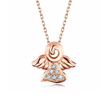 【美丽天使】 18k玫瑰金丘比特天使项链
