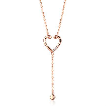 【听心】系列 玫瑰18K金钻石吊坠时髦链牌镶钻吊坠