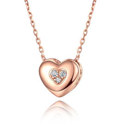 【倾心】 玫瑰18K金钻石吊坠时尚钻石心形串珠