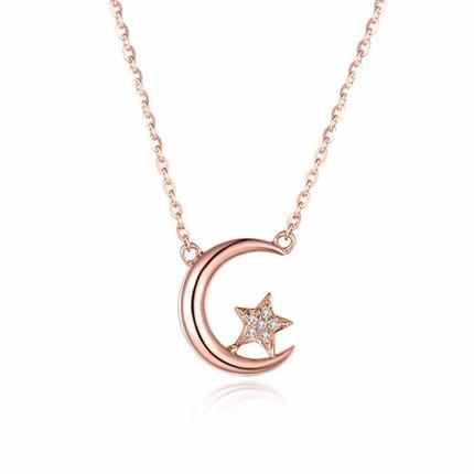 【星月系列】 玫瑰18k金钻石吊坠
