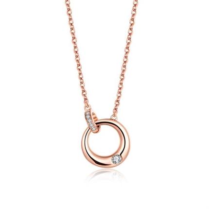 【相依】 玫瑰18k金双环扣钻石项链圆环锁骨链吊坠