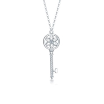 【钥匙】 白18k金钻石项链镶钻吊坠