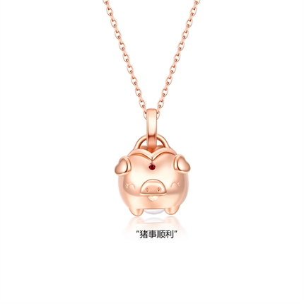 【猪】 玫瑰18K金生肖猪本命年猪猪项链吊坠