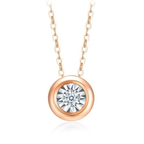 【泡泡波点】 18k金钻石吊坠显钻锁骨链 (两色可选)
