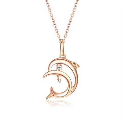 【海豚】 18k玫瑰金钻石项链锁骨链吊坠(不含链)