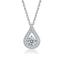 【女神的嫁衣】 白18K金水滴钻石吊坠项链
