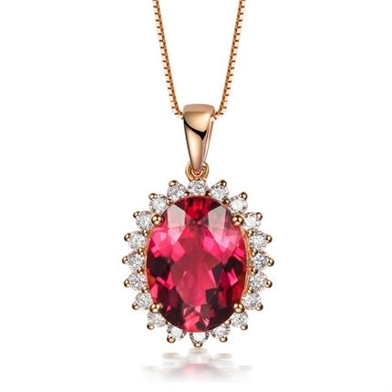【维多利亚女王】 18k玫瑰金2克拉天然红碧玺钻石吊坠