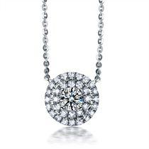 【星空】 白18k金三围立体群镶钻石吊坠