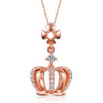 【桂冠】系列 玫瑰18K金钻石吊坠女款项链钻石项坠
