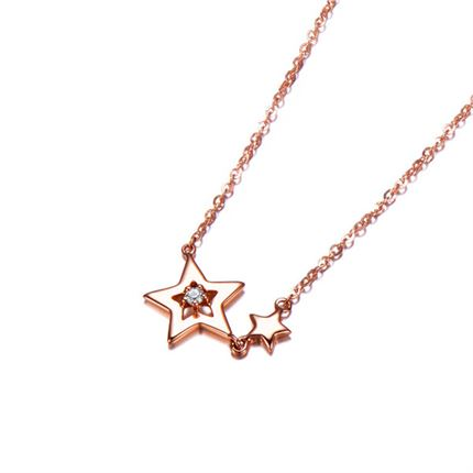 【繁星】 玫瑰18k金星形时尚钻石项链