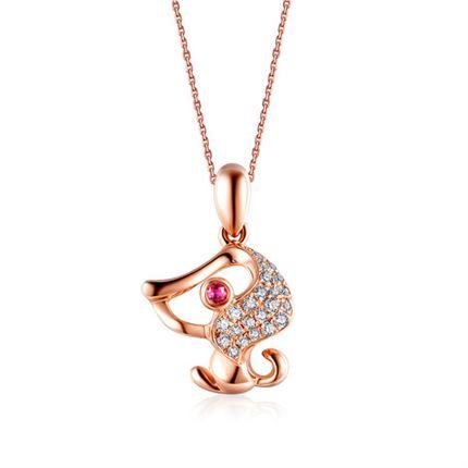 【萌宠】系列 玫瑰18k金钻石镶红宝石吊坠