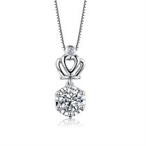 【桂冠】 18K白金项链时尚女款钻石吊坠