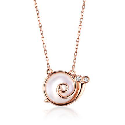【蜗牛小姐】 玫瑰18K金钻石吊坠