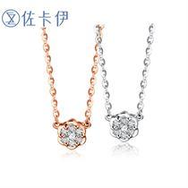【雪梅】 玫瑰18k金钻石项链