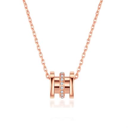 【小蛮腰】 18k玫瑰金钻石项链圆柱钻石锁骨链