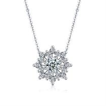 【初雪】 白18K金群镶女款钻石吊坠(含18K金链)