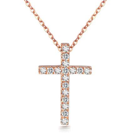 【尼罗河的爱】 玫瑰18K金钻石十字架吊坠(双色可选)