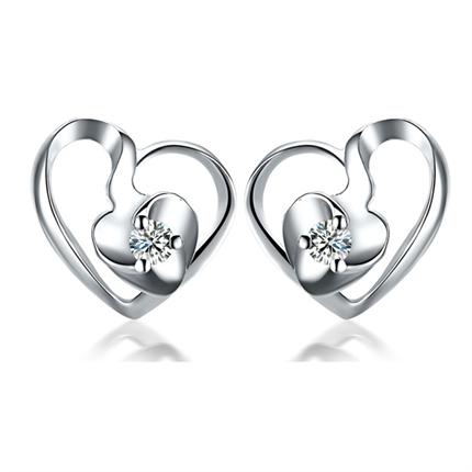 【兰心】 白18k金10分/0.1克拉钻石耳钉