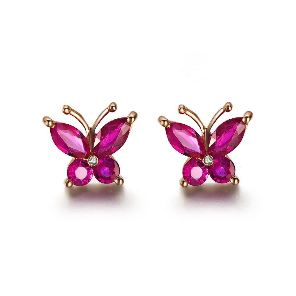 蝶儿双飞-玫瑰金女式耳钉