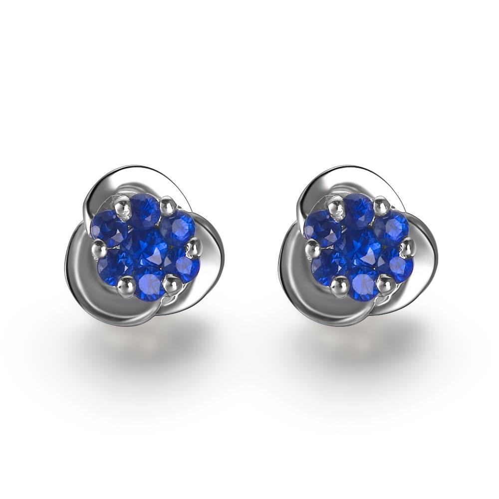 佐卡伊  住在花蕊里的蓝精灵-白18K金蓝宝石女式耳钉