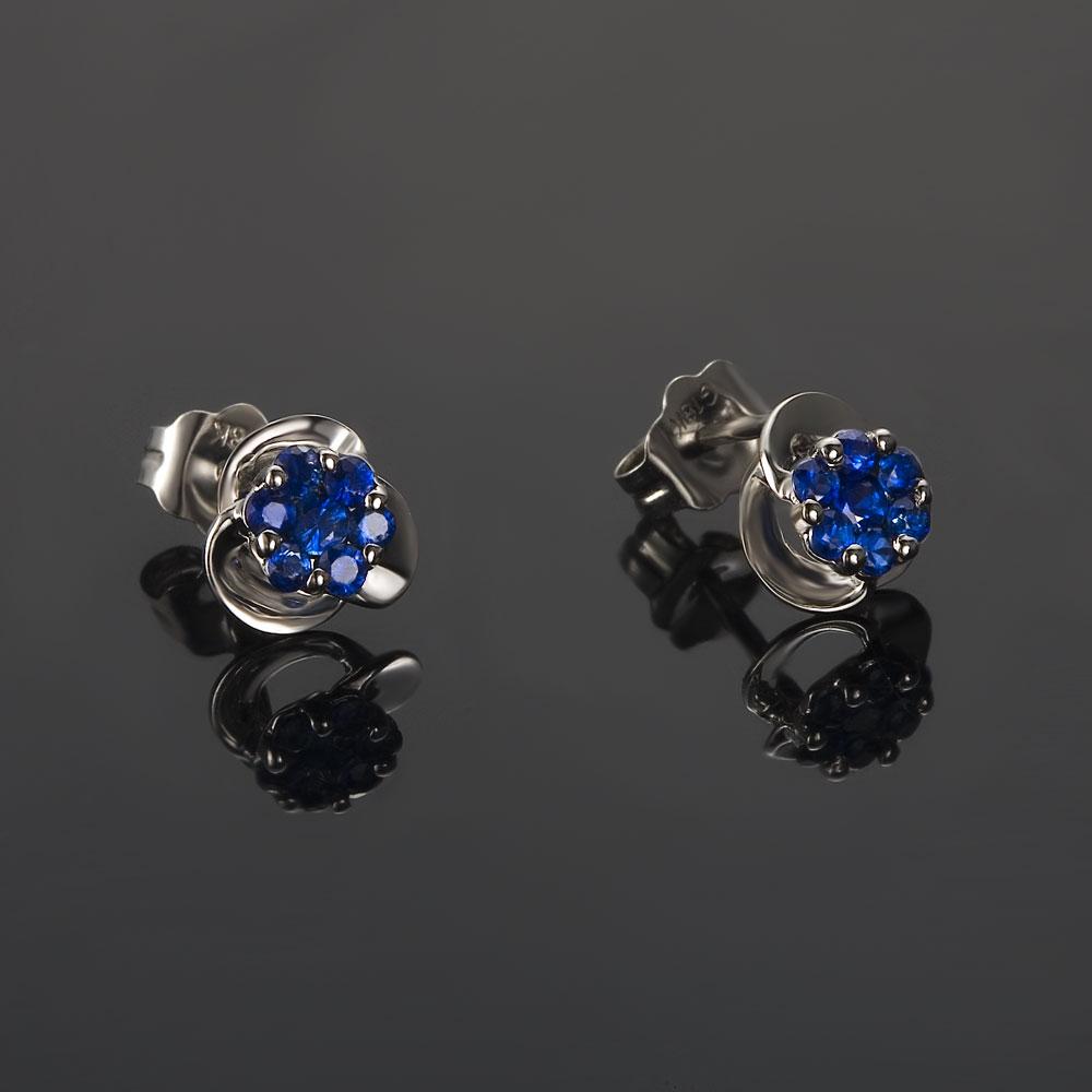 蓝精灵-白18K金蓝宝石六围一女式耳钉