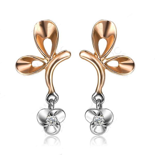 飞舞 新款-白18K金3分/0.025克拉钻石女式耳环