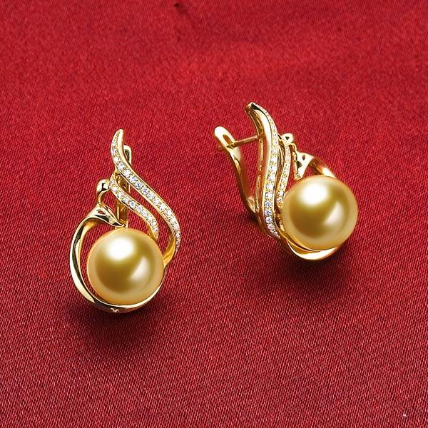 恒爱-黄18K金南洋金色珍珠女式耳坠